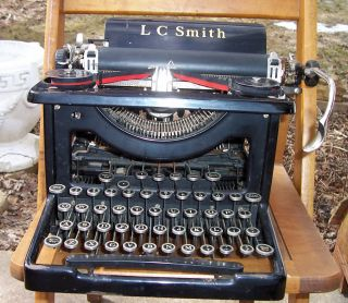 Antique 1930 ' S Lc Smith Corona Typewriter.  Glass Keys Prop Decor.  Wow photo