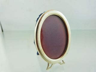 Plain Oval Picture Or Photo Frame Mini Cloth Back & Stand By Birks Sterling photo