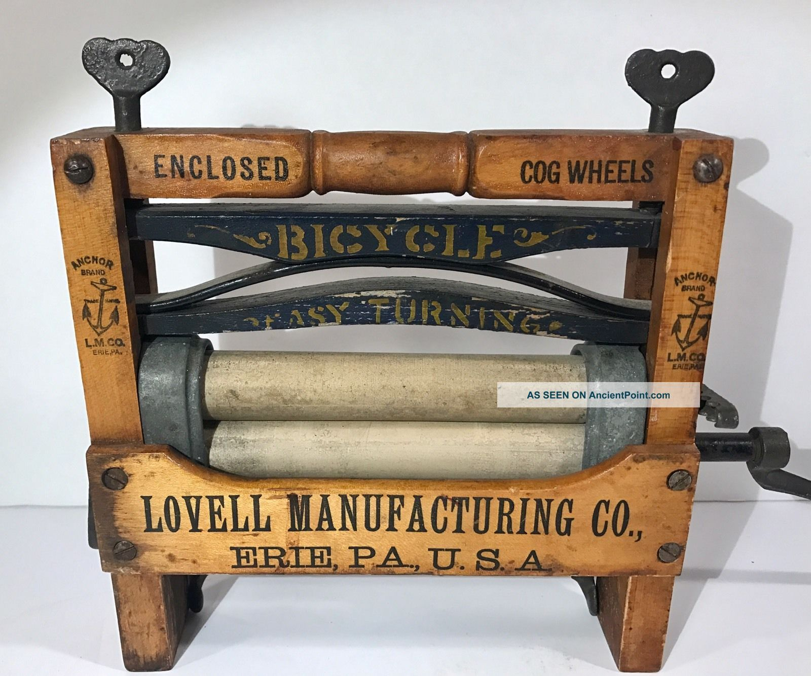 Antique 1890s Anchor Brand Bicycle Toy Clothes Wringer Lovell Mfg Co Erie Pa Clothing Wringers photo