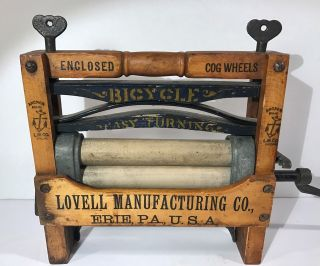Antique 1890s Anchor Brand Bicycle Toy Clothes Wringer Lovell Mfg Co Erie Pa photo