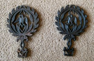 Two Vintage Cast Iron Eagle/heart Trivets Wall Hanging (one Labeled 1949 4) photo