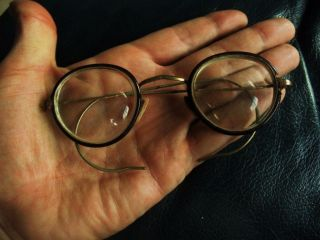 Antique British Eyeglasses With Carton Box,  Gold Colored Frame photo