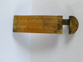 Antique Extending Rule No4462 By Stanley? Brass & Wood With Pull Out Section photo