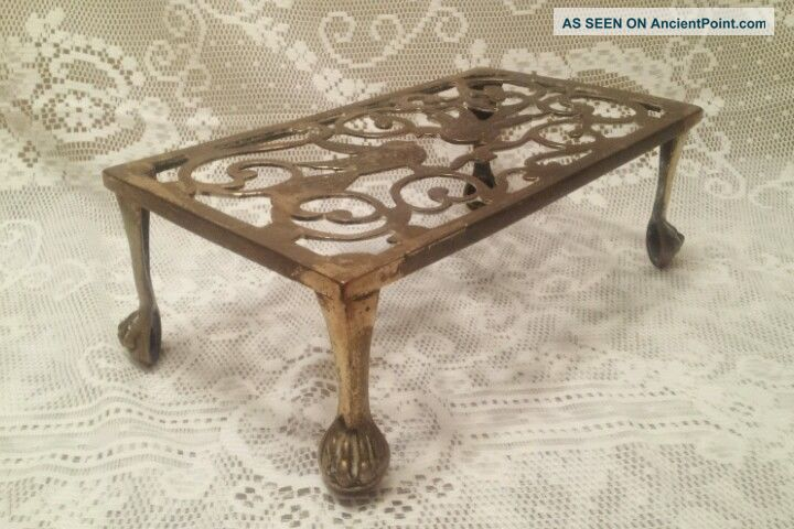 Antique Ornate Brass Metal Fireplace Hearth Kettle Or Cooking Trivet Stand Birds Trivets photo