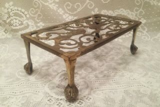 Antique Ornate Brass Metal Fireplace Hearth Kettle Or Cooking Trivet Stand Birds photo