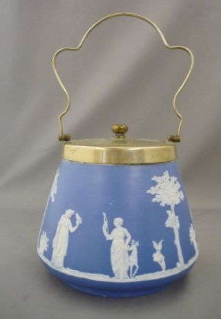 Vintage James Dudson Brothers Blue White Jasperware Pottery Biscuit Barrel photo