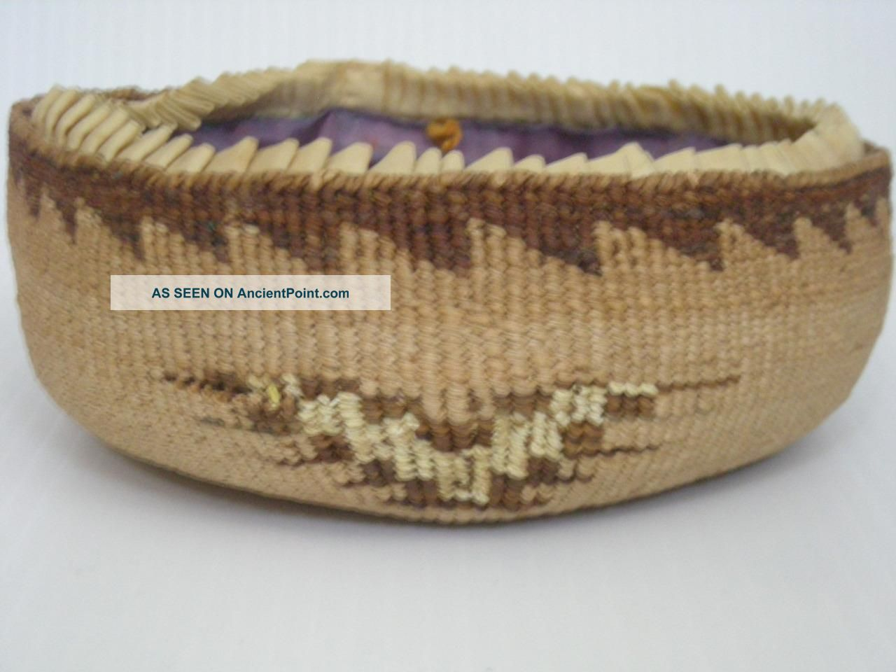 Antique Victorian Klamath Modoc Indian Sewing Basket Yellow Quills California Native American photo