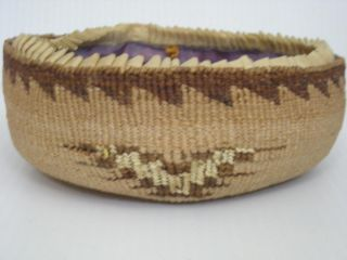Antique Victorian Klamath Modoc Indian Sewing Basket Yellow Quills California photo