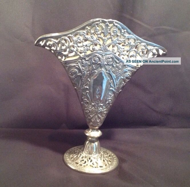 Vintage Ornate Silverplate Silver Plate Floral Scroll Pierced Filigree Fan Vase Vases & Urns photo