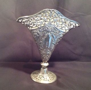 Vintage Ornate Silverplate Silver Plate Floral Scroll Pierced Filigree Fan Vase photo