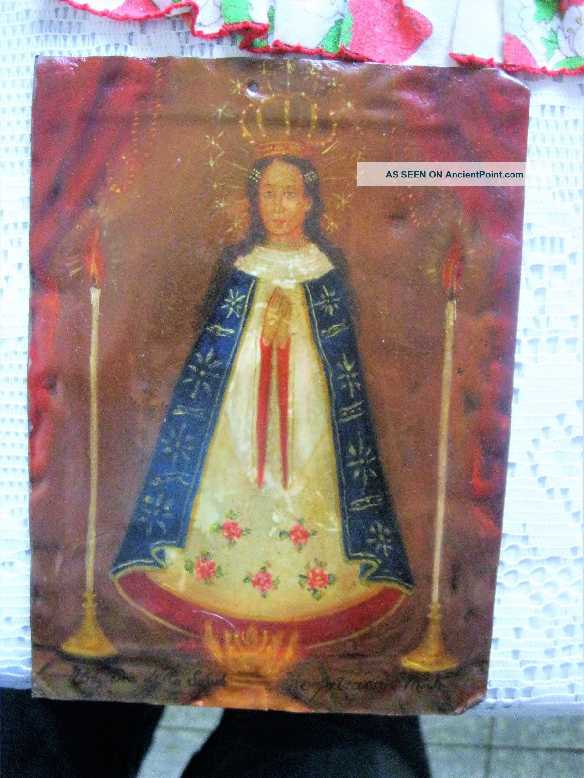 Antique Retablo On Tin With The Image Of Our Lady Virgin Mary Latin American photo