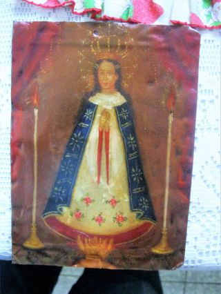 Antique Retablo On Tin With The Image Of Our Lady Virgin Mary photo