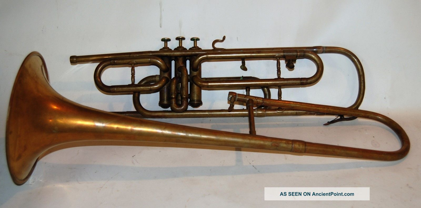 Valve Trombone By Henry Pourcelle 1910 ' S Made In France Imported By Bruno Brass photo