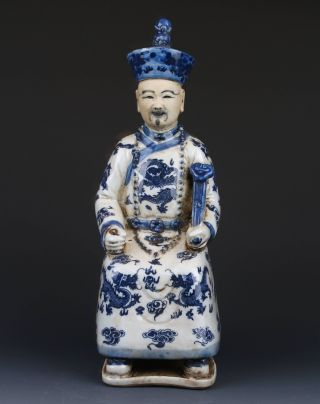Chinese Blue And White Handwork Emperor Holding A Green Wishful Statues G265 photo