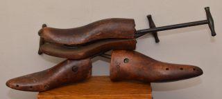 3 Antique Dark Wood Shoe Cobbler ' S Stretchers Forms Cast Iron Vintage Remco 1923 photo