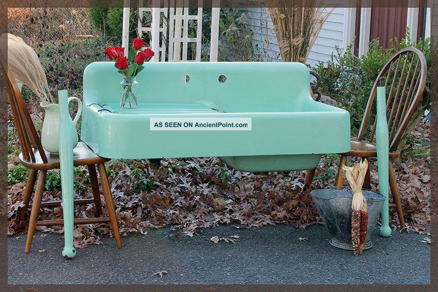 1930 ' S Seafoam Green Vintage Antique Farmhouse Farm Sink Dual Bay Sinks photo