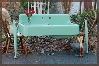 1930 ' S Seafoam Green Vintage Antique Farmhouse Farm Sink Dual Bay photo