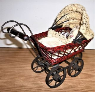 Vintage Miniature Rattan Wicker Metal Carriage Buggy,  Doll photo