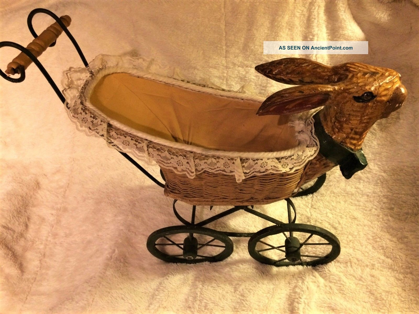 Antique Iron Bunny Rabbit Head Wicker Babydoll Stroller Buggy Baby Carriages & Buggies photo