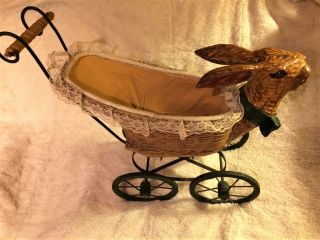 Antique Iron Bunny Rabbit Head Wicker Babydoll Stroller Buggy photo
