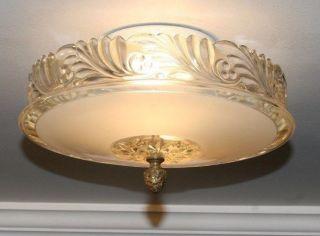 Antique Frosted Glass Art Deco Light Fixture Ceiling Chandelier Semi Flush Beige photo