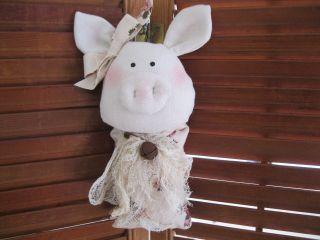 Primitive Decor Pig Peg Hanger Shabby Country Chic Tuck Ornie Rustic Animal photo