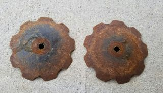 2 Plow Disc Blades Industrial Steampunk Farm International Vintage Cast Iron photo