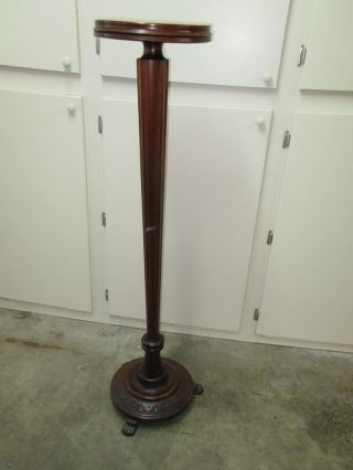 1800s Victorian Fluted Column Mahogany Plant Jardeniere 52