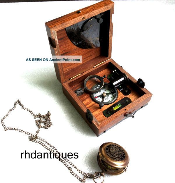 Nautical Vintage Brass & Wooden Six Instruments Marine Master Box W Watch Compasses photo