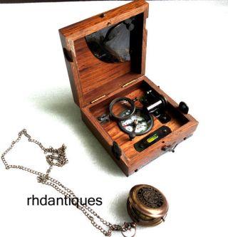 Nautical Vintage Brass & Wooden Six Instruments Marine Master Box W Watch photo