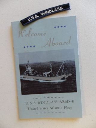 Naval / Us Navy Uss Windlass (arsd - 4) Shoulder Tab & Welcome Aboard C1965 photo