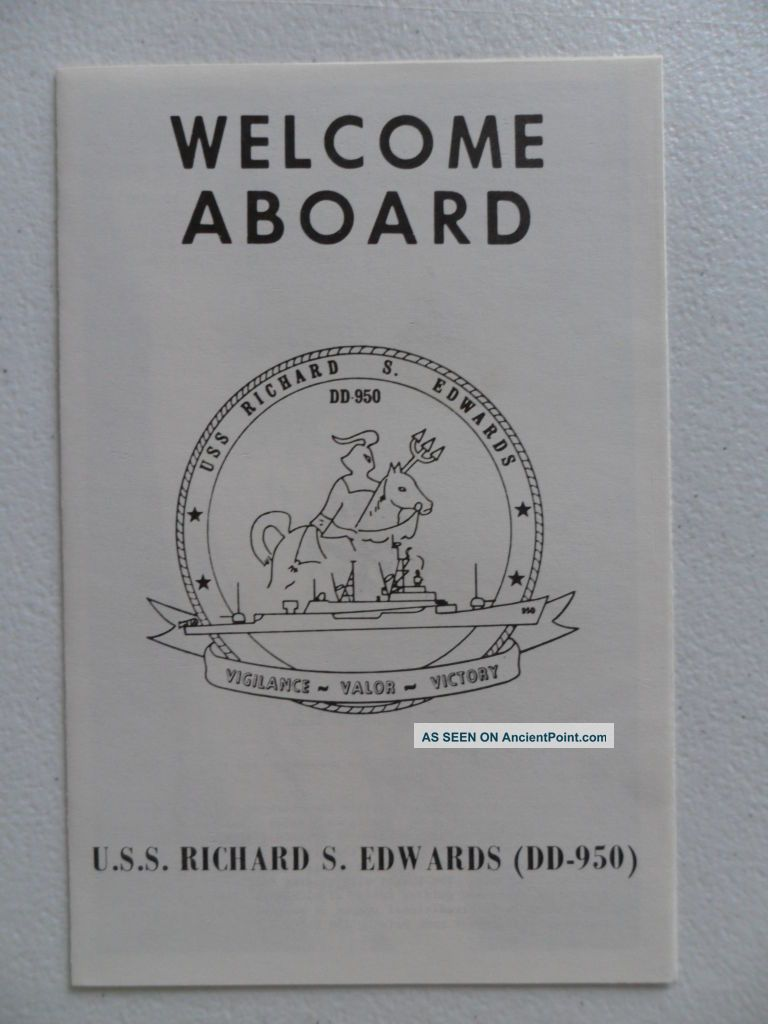 Naval/ Us Navy Uss Richard S Edwards (dd - 950) Welcome Aboard 1970s Other Maritime Antiques photo