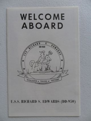 Naval/ Us Navy Uss Richard S Edwards (dd - 950) Welcome Aboard 1970s photo