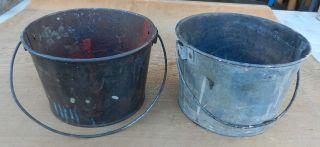 2 Vintage Small Primitive Tin Bale Handle Pails - Old Paint Buckets - Cool photo