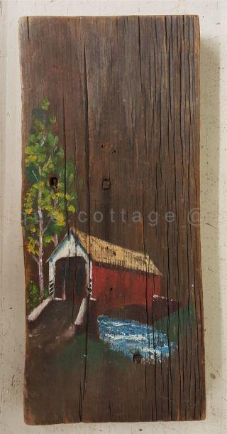 Antique Repurposed Wood Square Nails Orig Painted Covered Bridge Lancaster Pa photo