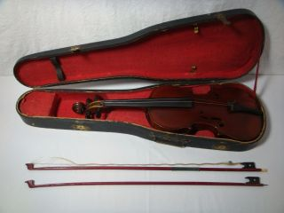 Antique French Charotte A Paris Violin 4/4 Tiger Maple & Spruce 2 Bows Gsb Case photo