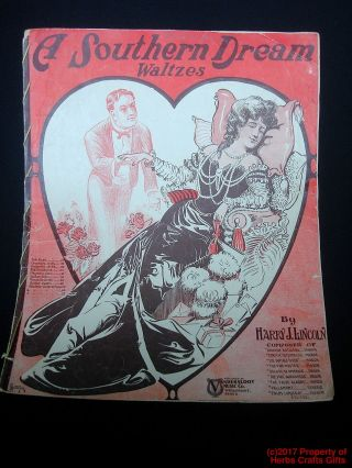 Antique Sheet Music A Southern Dream 1905 Piano Waltzes Victorian - photo