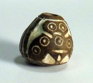 Pre - Columbian Black Spread - Wing Owl Bead.  Guaranteed Authentic. photo