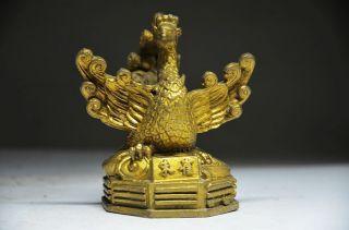 Delicate Chinese Brass Handmade Lifelike Rosefinch Statue photo