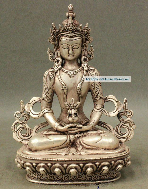 Tibet Buddhist Silver Amitayus Longevity God Goddess Guanyin Buddha Statue Buddha photo