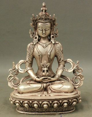 Tibet Buddhist Silver Amitayus Longevity God Goddess Guanyin Buddha Statue photo