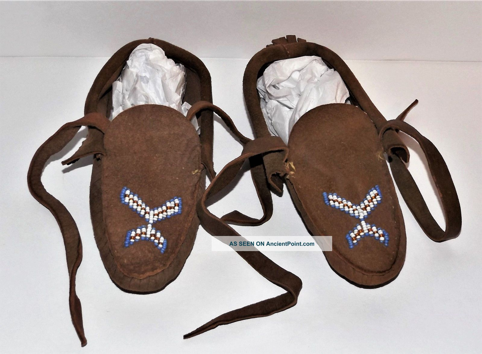 Antique Native American Indian Beaded Leather Iroquois Child Moccasins Native American photo