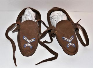 Antique Native American Indian Beaded Leather Iroquois Child Moccasins photo