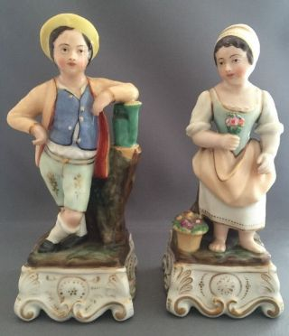 Vintage Porcelain Bisque Man Woman Watering Flowers Figures Figurines Inkwell photo