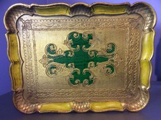 Vtg Italian Tole Gold Gilt Florentine Serving Vanity Tray Hollywood Regency photo