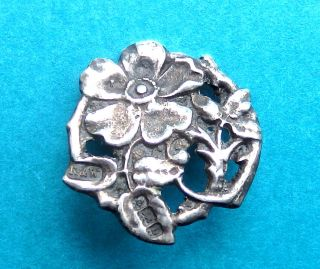 Antique Circa 1900,  English Sterling Silver Button,  Wld Rose By T.  Brothers. photo