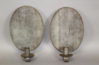 Rare 19th C American Tin Candle Sconces In Best Grungy Surface photo