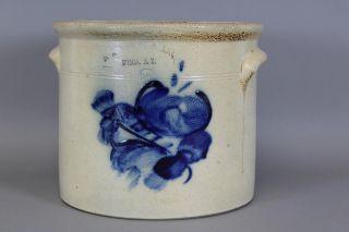 2 Gal Cobalt Blue Decorated 19th C Stoneware Crock