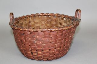 An Extremely Rare Early 19th C Splint Basket Best Untouched Red Paint photo
