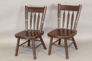 19th C Child ' S Arrow Back Windsor Chairs In Great Old Brown Paint photo
